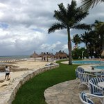 Just outside the doors of El Cocal, looking toward another pool and beach