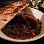 Sausage and lentils. And a bonus of delicious homemade bread!