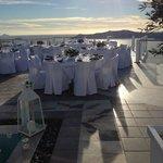 Upper pool deck, reception set up looking at caldera