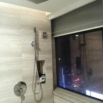 shower area which overlooks outside buildings