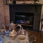 Morning coffee by the fire in our room