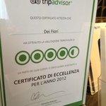 Certificat d'excellence 2012