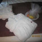 complimentary welcome fruits and fluffy robes