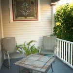 The front porch has a private seating area that's available for breakfast service on request.