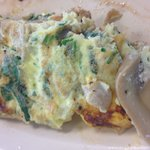 """Veggie Omelet.... Server said, """"Yes, we only use Fresh Mushrooms!"""" ...Fresh Mushrooms from a can"""
