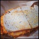 """Loretta Lynn:"" pimento, bacon, and tomato on grilled sourdough"