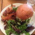 salmon burger with sweet potatoes
