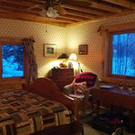 Our cozy room with lovely views of Farm Lake