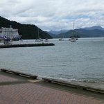 Looking back at the ferry in Picton dock