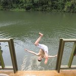 Jumping off the floating lodge.