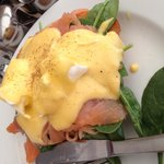 Eggs Benedict with Salmon $19.95 with surcharge