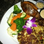 Crab cake dinner with sweet potato and mixed vegetables