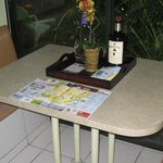 Kitchenette table with sliding glass doors - nice!