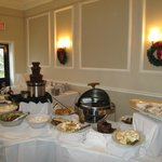 Dessert area and chocolate fountain.