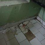 broken tiles in room