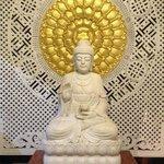 buddha status at the entrance