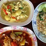 Spicy curry powder chicken, sweet & sour chicken & a very generous serving of fried rice. Very t