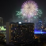 view of fireworks for New Years Eve 2013 from our room.