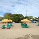 Beach umbrellas and seating only for Ossotel hotel guests