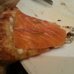 Salmon sashimi pizza. It's sooo good!