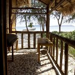 Private balcony on one of our beachfront bungalows