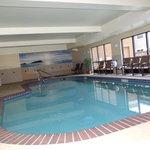 Clean indoor pool area.  So warm inside.