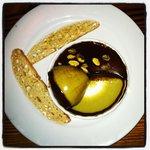 Chocolate pistachio custard with biscotti