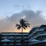A look back at the hotel grounds from the pool deck at sunset