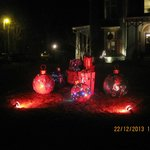 Christmas decorations on the front lawn