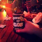 """""""Whatabeer"""" served in a koozie. Awesome."""