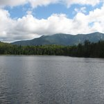 lonesome lake from the alpine hut dock