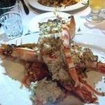 10-inch long prawns, veal Marsala in the background...