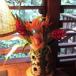 View of my porch through a beautiful bouquet in my cabin