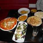 lamb korma with naan, chicken satay pizza with salad