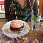 "GBK Veggie (gluten free bun)- ""homemade bean patty w/ a hint of chilli, house mayo, relish, sala"