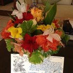 Fresh flowers daily and a personalized note for our anniversary