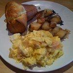 Soft scrambled eggs and lox