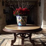 Holiday floral arrangement in the foyer