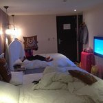 very comfort bed with big LCD TV
