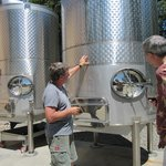 Greg explains the stainless steel dimpled wine barrel