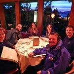 Willis and McFarland families enjoying great food and drinks last night of our Tahoe ski trip