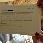 Note sent with our Champange which my in-laws arranged for! The hote gave us a few candles in a