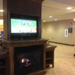 Lobby area TV and fireplace