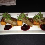 Bison Medallions, Bourbon Yams, Red Wine Demi Glacé, Black Berry- Cherry Gastrique, Micro Intens