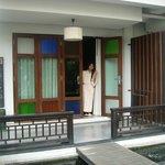 Hanny on the balcony/main door.