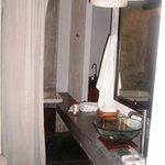 Bathroom vanity & wardrobe area.