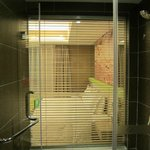 Glass wall separating bathroom/ room