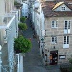 view from the room to Rua Raina and Praza de Fonseca