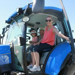 On the tractor with Farmer Ken