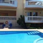 Spacious balconies overlooking the pool